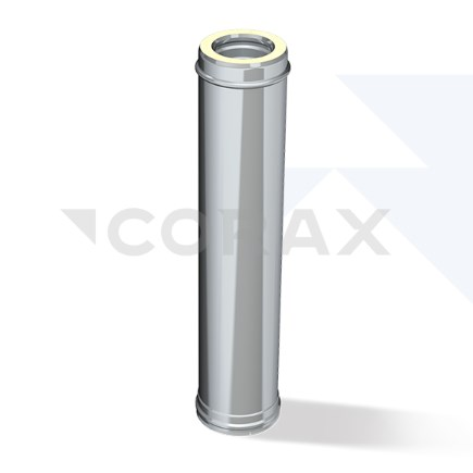 Дымоход двустенный утепленный 1 метр Corax AISI 430/0,8 + 430/0,5 сэндвич  фото1