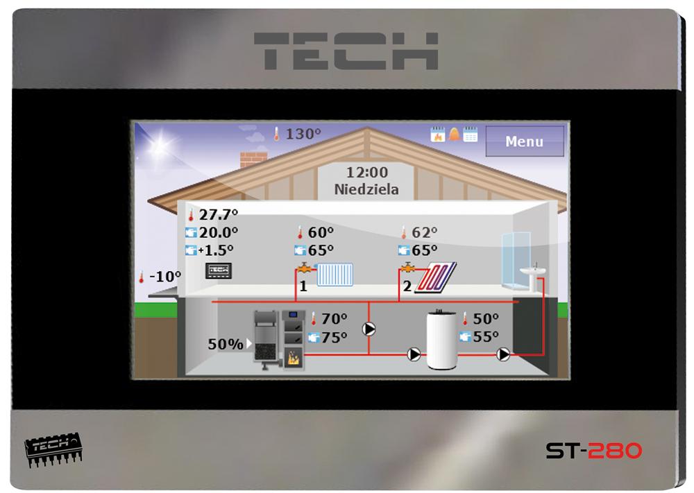Терморегулятор недельный программируемый проводной Tech ST 280 RS фото1