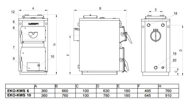 Твердотопливный котел Elektromet EKO-KWS 10 фото3