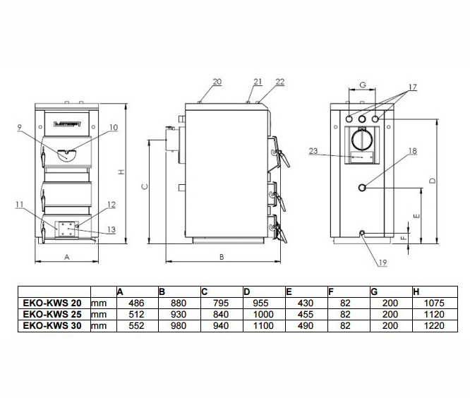 Твердотопливный котел Elektromet EKO-KWS 25 фото3
