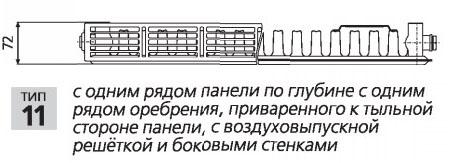 Стальной радиатор Prado Classic Тип 11 500 мм фото2