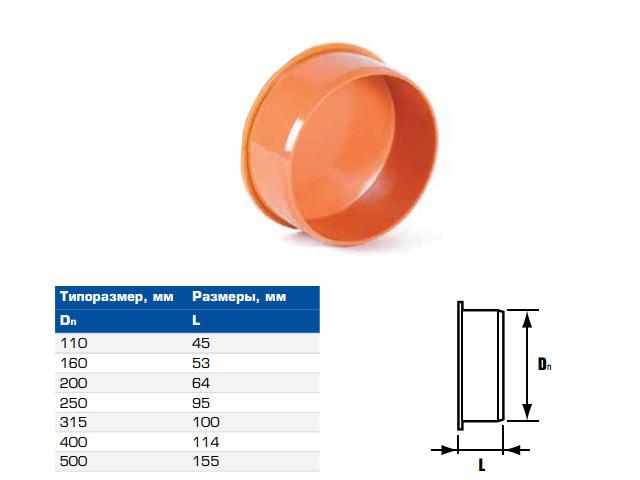 Заглушка для раструба для наружной канализации НПВХ 160 (ХЕМКОР) фото1