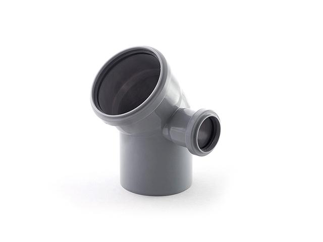 Колено для внутренней канализации 110/50х45 правый РосТурПласт (Отвод 110х45 правое 50) фото1