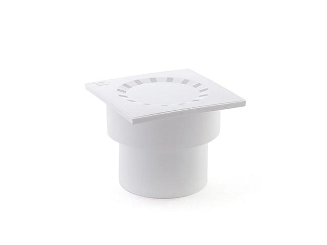 Сливной трап вертикальный D 110 с сухим затвором, решетка пласт. 150х150 мм, белый РосТурПласт (Трап пластиковый сухой затвор 110 вер.) фото1