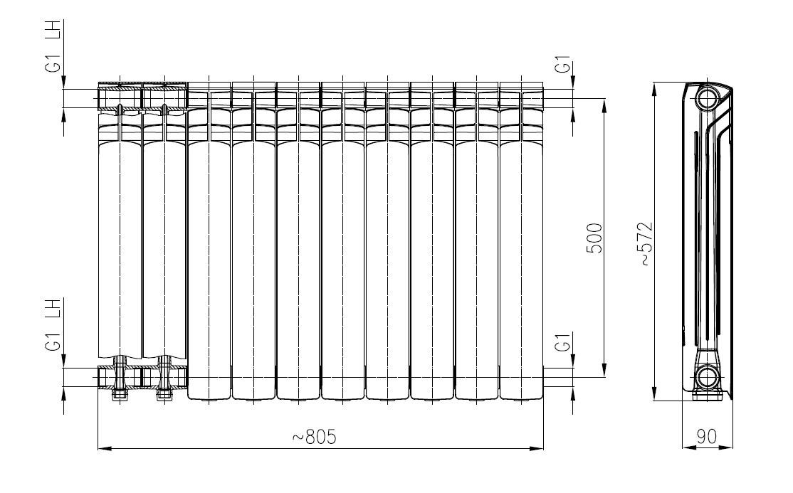Алюминиевые радиаторы Armatura G500F/10 фото2