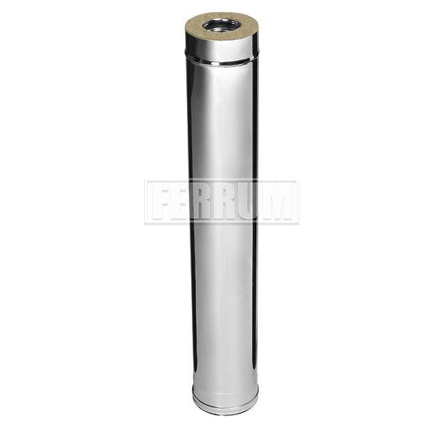 Дымоход утепленный 1 метр Ferrum AISI 430/0,8 + 430/0,5 сэндвич фото1