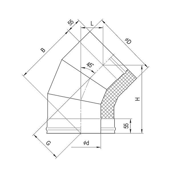Колено утепленное 135° Ferrum AISI 430/0,8 + 430/0,5 сэндвич фото2