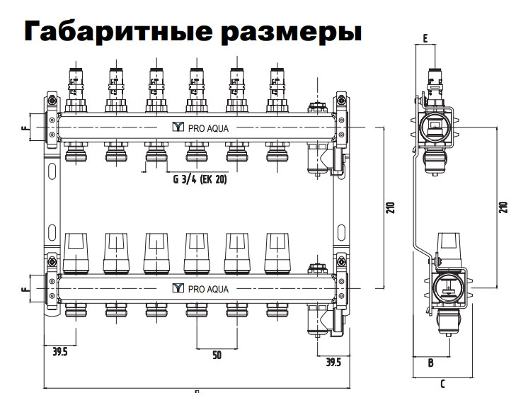 """Коллекторная группа с расходомерами в сборе, 1""""х10 вых. Евроконус 3/4"""" PRO AQUA фото3"""