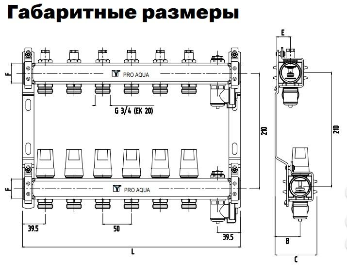 """Коллекторная группа с рег. клапанами в сборе, 1""""х5 вых. Евроконус 3/4"""" PRO AQUA фото3"""