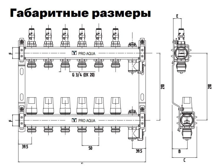 """Коллекторная группа с расходомерами в сборе, 1""""х6 вых. Евроконус 3/4"""" PRO AQUA фото3"""