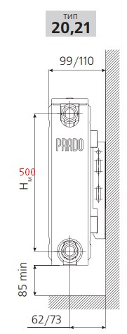 Стальной радиатор Prado Classic Тип 21 500 мм фото3
